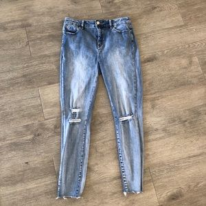 Decjuba Ripped Jeans Women's Size 14 Blue Denim